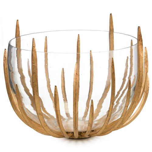 John-Richard Malick Hollywood Regency Gold Leaf Spikes Clear Glass Bowl | Kathy Kuo Home