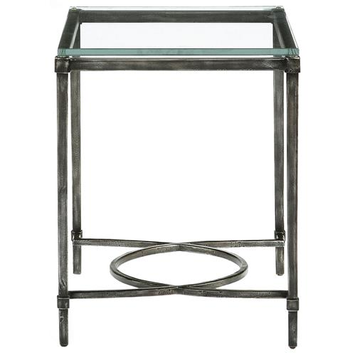 Chase Industrial Loft Blackened Grey Iron Side End Table | Kathy Kuo Home