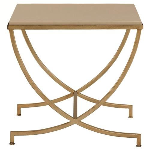 Flora Hollywood Regency Soft Gold Steel Stone Side End Table | Kathy Kuo Home