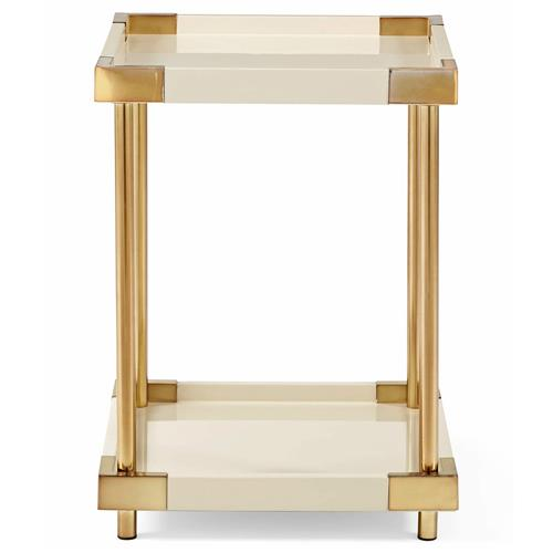 Elena Hollywood Regency Ivory Lacquer Brass Square End Table | Kathy Kuo Home