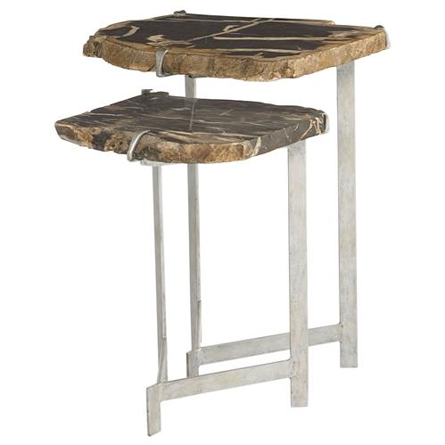 Sybil Industrial Loft Petrified Wood Nesting Side Tables | Kathy Kuo Home
