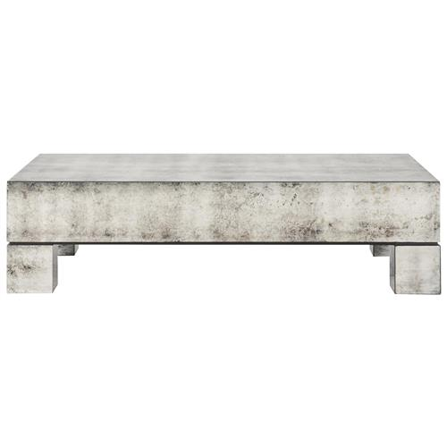 Phineas Industrial Loft Antiqued Mirror Coffee Table | Kathy Kuo Home