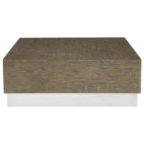 Lucius Industrial Loft Grey Teak Wood Polished Steel Coffee Table | Kathy Kuo Home