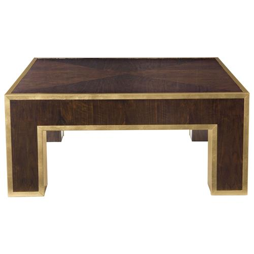 Valentine Hollywood Regency Brass Plated Walnut Coffee Table | Kathy Kuo Home