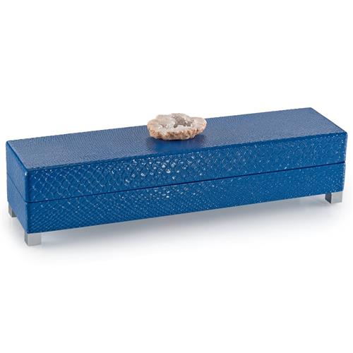 John-Richard Aliso Coastal Blue Snake Lacquer Cream Geode Box - 16 Inch | Kathy Kuo Home