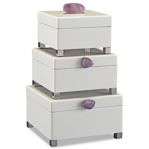 John-Richard Saldana Hollywood Regency White Lacquer Purple Amethyst Boxes - Set of 3 | Kathy Kuo Home
