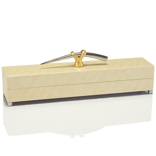John-Richard Brule Hollywood Regency Cream Lacquer Gold Nickel Handle Box | Kathy Kuo Home