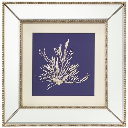 John-Richard Seaweed Stem Coastal Beach Ivory Navy Blue Silhouette Mirror Frame Wall Art | Kathy Kuo Home