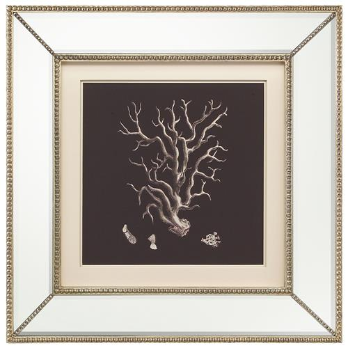 John-Richard Coral Branch Coastal Beach Ivory Black Silhouette Mirror Frame Wall Art | Kathy Kuo Home