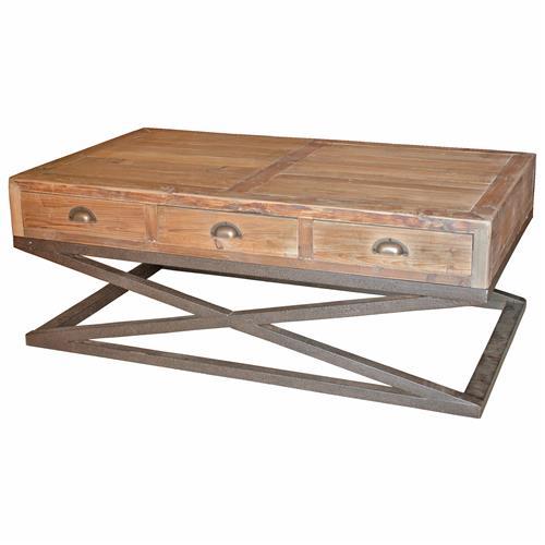 Industrial 6 Drawer Coffee Table: Hansen Industrial Loft Reclaimed Wood Metal Base Drawers