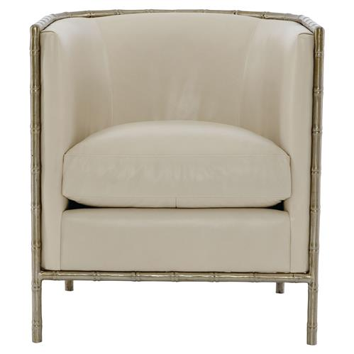 Perla Global Bazaar Cream Leather Metal Bamboo Armchair | Kathy Kuo Home