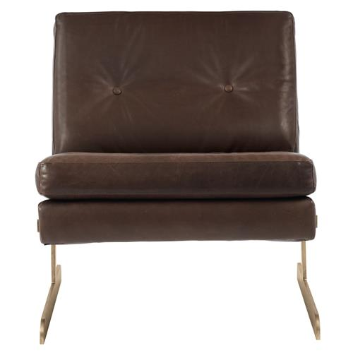 Trystan Industrial Loft Brown Leather Brass Living Room Chair | Kathy Kuo Home