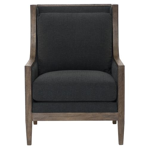 Bolton Lodge Charcoal Wood Wing Chair | Kathy Kuo Home