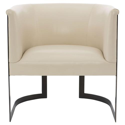 Maisie Modern Classic Cream Leather Metal Armchair | Kathy Kuo Home