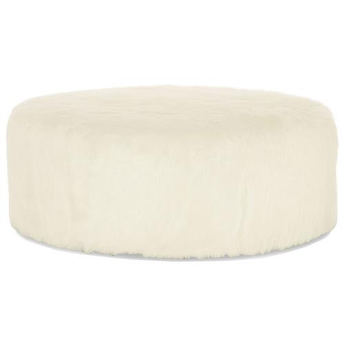 Eveline Hollywood Regency White Faux Fur Round Ottoman | Kathy Kuo Home
