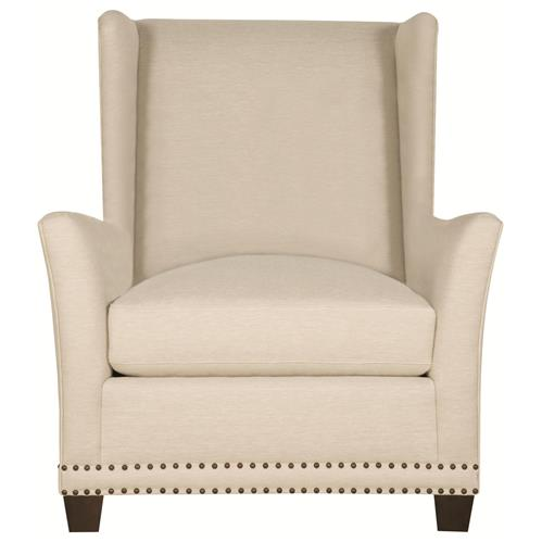 Kellen Hollywood Regency Wood Antique Brass Light Beige Wing Chair | Kathy Kuo Home
