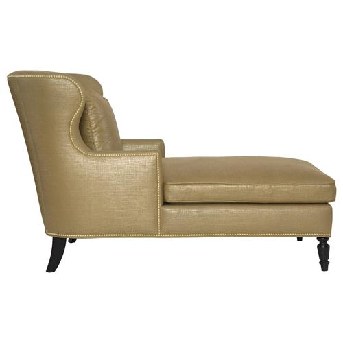 Nia Hollywood Regency Antique Nickel Nailhead Gold Linen Chaise | Kathy Kuo Home