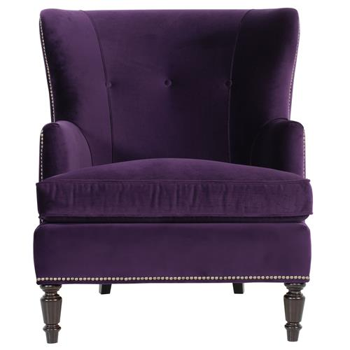 Nia Hollywood Regency Antique Nickel Nailhead Purple Armchair | Kathy Kuo Home