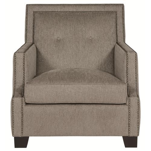 Bexley Modern Classic Mocha Wood Taupe Armchair | Kathy Kuo Home