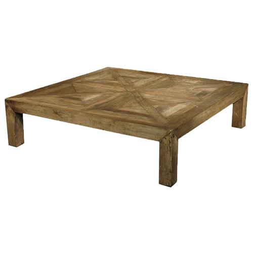 Birkby Rustic Lodge Natural Elm Parquet Square Coffee Table | Kathy Kuo Home