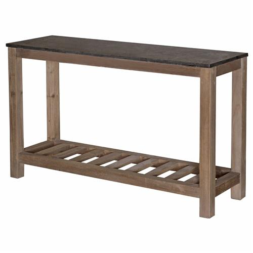 Haverly Rustic Lodge Natural Elm Blue Stone Top Console Table | Kathy Kuo Home