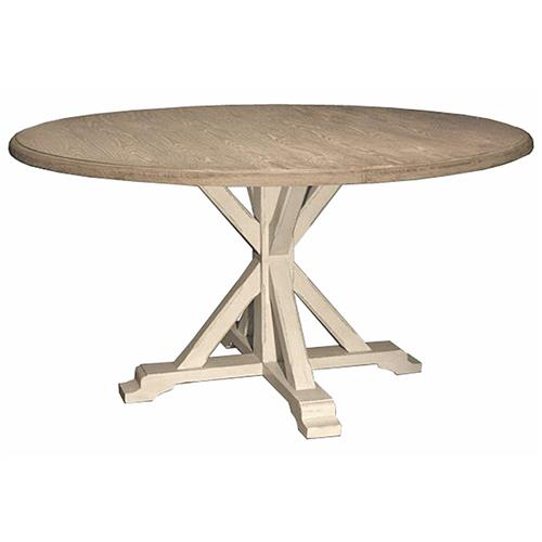 French Country Round Dining Table: Ferro French Country White Oak Alder Wood Round Dining Table