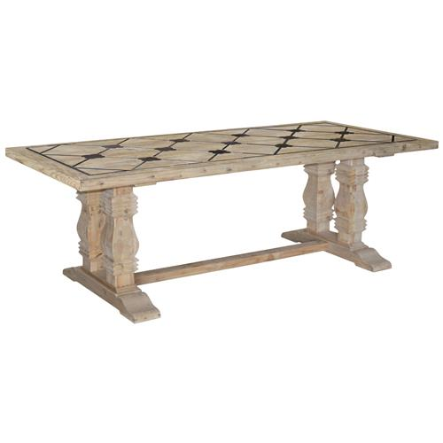 Nerval French Country Quatrefoil Blue Stone Reclaimed Pine Dining Table | Kathy Kuo Home