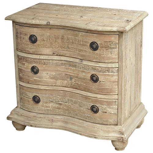 Rodin French Country Curved Reclaimed Pine White Wash Bachelor Chest - 30 Inch | Kathy Kuo Home