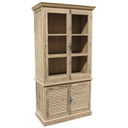 Dijon French Country White Wash Pine Plantation Shutter Doors Bookcase | Kathy Kuo Home