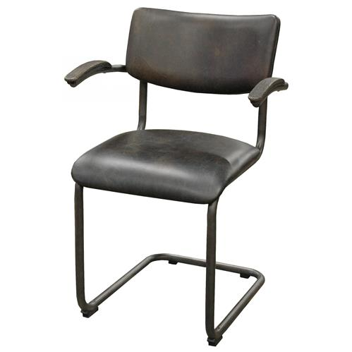 Stephen Industrial Loft Espresso Brown Leather Masculine Dining Chair | Kathy Kuo Home