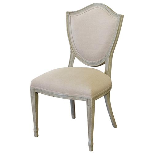 Darmon French Country Grey Birch Wood Ecru Linen Dining Chair | Kathy Kuo Home