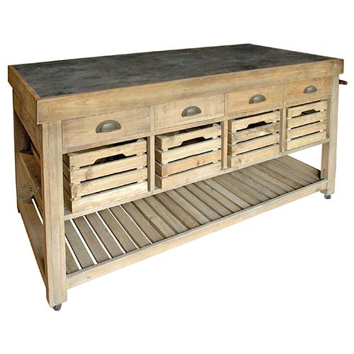 Marat French Country Reclaimed Pine Blue Stone 4 Crate