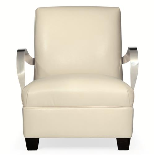 Rowan Modern Classic Ivory Leather Stainless Steel Armchair | Kathy Kuo Home