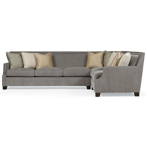 Bexley Modern Classic Mocha Wood Grey 3 Part Sectional - 118x93 | Kathy Kuo Home