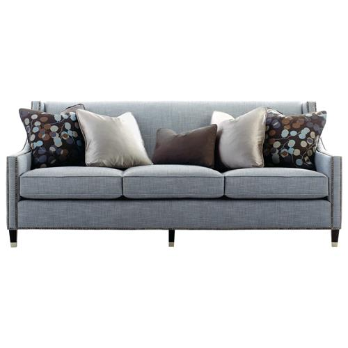 Emmeline Hollywood Regency Antique Nickel Blue Sofa - 82.5 Inch | Kathy Kuo Home