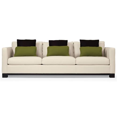 Miles Modern Classic Mocha Wood Ivory Leather Sofa - 91 Inch | Kathy Kuo Home