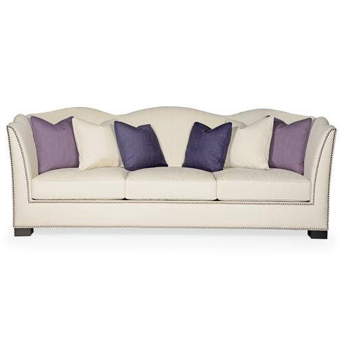 Lane Hollywood Regency Aged Grey Wood Nickel Ivory Sofa - 92 Inch | Kathy Kuo Home