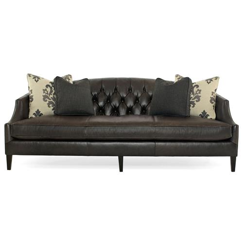 Juliet Hollywood Regency Mocha Wood Black Leather Tufted Sofa | Kathy Kuo Home