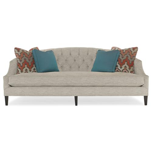 Juliet Hollywood Regency Mocha Wood Beige Tufted Sofa | Kathy Kuo Home