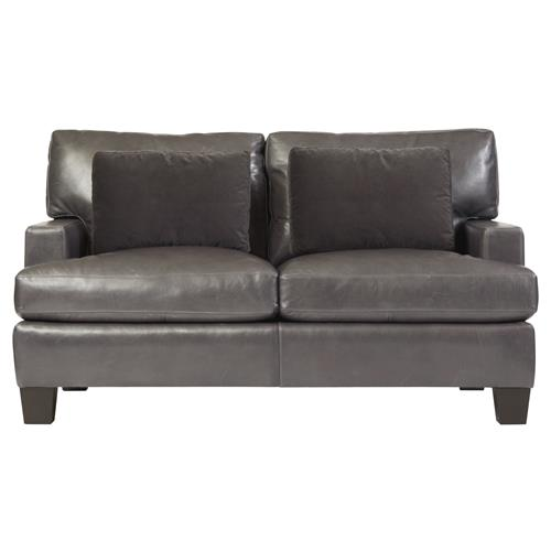 Sienna Modern Classic Mocha Wood Grey Leather Loveseat | Kathy Kuo Home