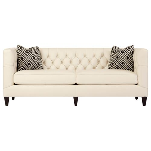 Jane Hollywood Regency Mocha Wood Cream Leather Tufted Sofa | Kathy Kuo Home