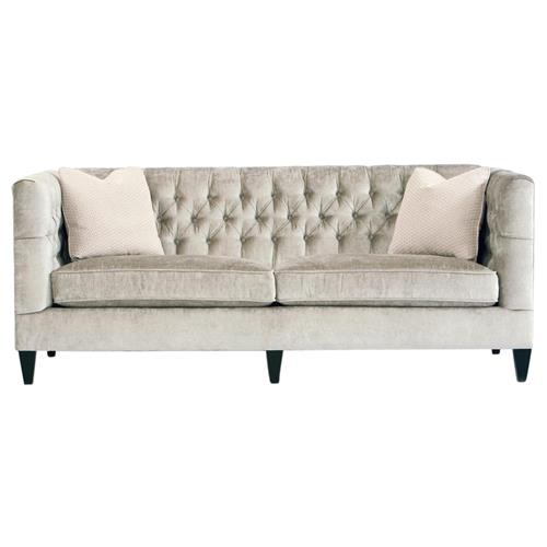Jane Hollywood Regency Mocha Wood Silver Velvet Tufted Sofa | Kathy Kuo Home