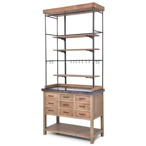 Callie French Country Pine Iron Zinc Display Case Buffet Cabinet | Kathy Kuo Home