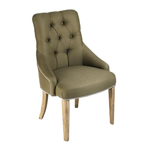 Anneau Olive Linen Tufted Nailhead Vanity Dining Chair | Kathy Kuo Home
