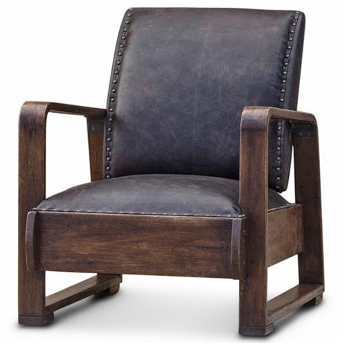 Nathaniel Industrial Loft Walnut Espresso Brown Leather Armchair | Kathy Kuo Home