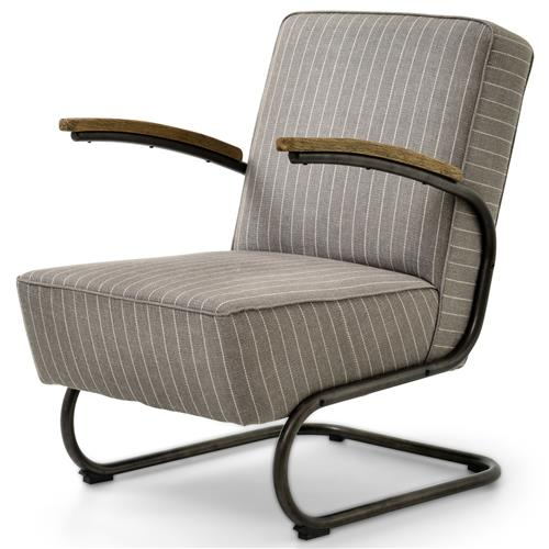 Peterman Industrial Loft Black Iron Grey Stripe Twill Armchair | Kathy Kuo Home