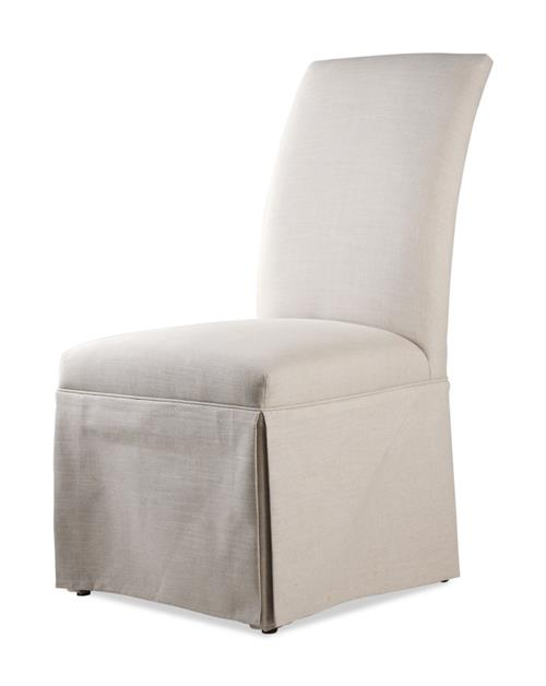 Kick Pleat Cream Linen Tuxedo Dining Chair | Kathy Kuo Home