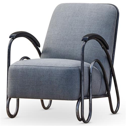 Brett Modern Industrial Loft Grey Fabric Black Iron Armchair | Kathy Kuo Home