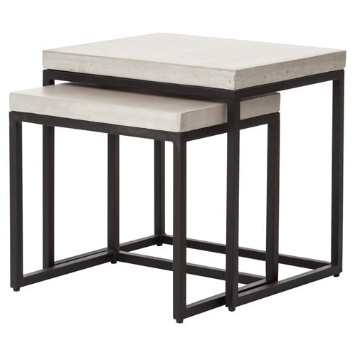 Zue Industrial Loft Concrete Top Outdoor Nesting Side End Tables - Set of 2 | Kathy Kuo Home