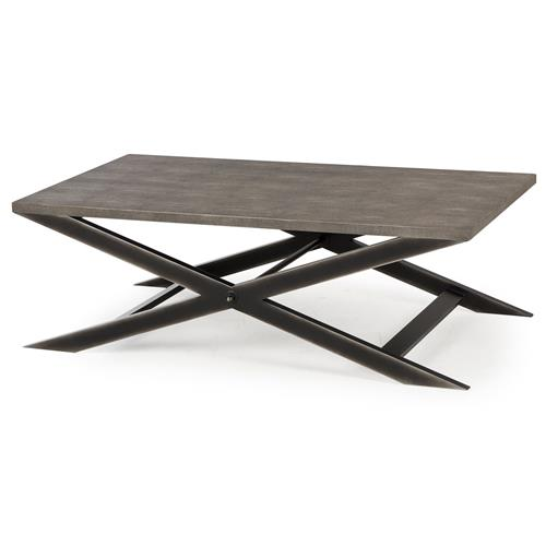 Billie Modern Classic Faux Shagreen Cross Leg Metal Coffee Table | Kathy Kuo Home